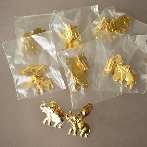 new vintage 1980's gold elephant clip earrings